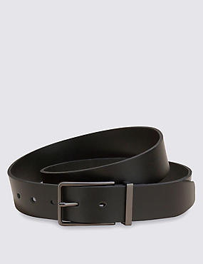 Leather Gunmetal Rectangular Buckle Belt