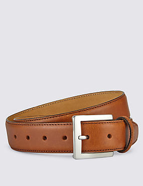 Leather Rectangular Buckle Notched Belt