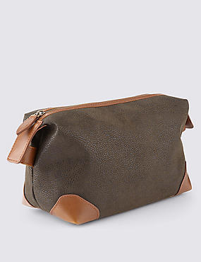 Contrast Trim Textured Washbag