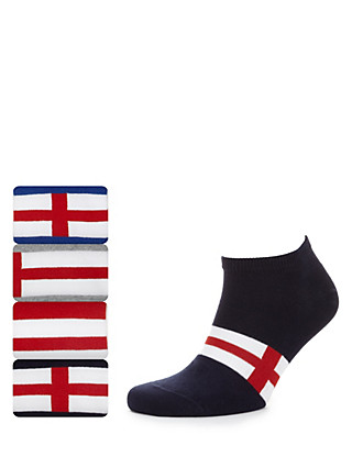 4 Pairs of Freshfeet™ Cotton Rich Flag Trainer Liner Sport Socks with Silver Technology Clothing