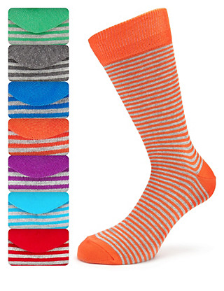 7 Pairs of Cotton Rich Freshfeet™ Marl Striped Socks Clothing