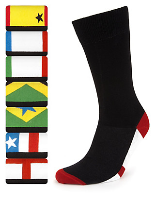 7 Pairs of Freshfeet™ Cotton Rich Flag Design Socks with Silver Technology Clothing