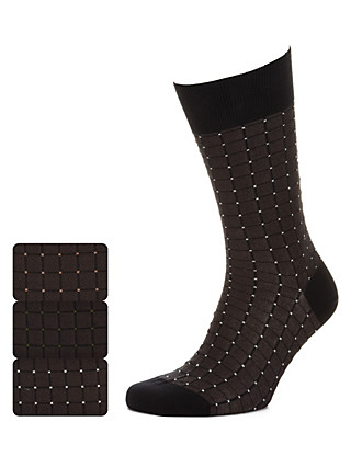 3 Pairs of Textured Block Socks Clothing