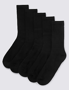5 Pairs of Cool & Fresh™ Cotton Rich Sports Socks