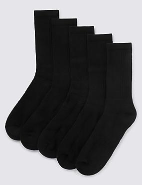 5 Pack Cool & Fresh™ Cotton Rich Sports Socks, BLACK, catlanding