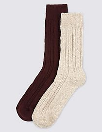 2 Pairs of Wool Rich Thermal Cable Knit Socks