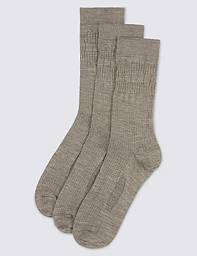 3 Pairs of Freshfeet™ Lambswool Blend Non Elastic Socks