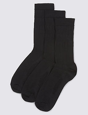 3 Pack of Gentle Grip Lambswool Blend Socks, BLACK, catlanding