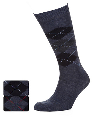 2 Pairs of Wool Blend Argyle Long Socks Clothing