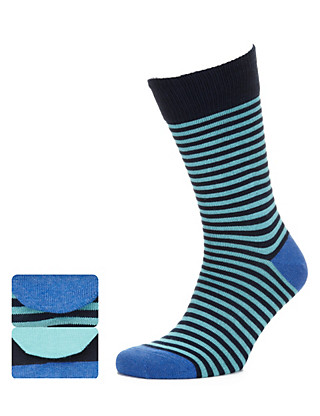 2 Pairs of Cotton Rich Wide Multi-Striped Socks Clothing