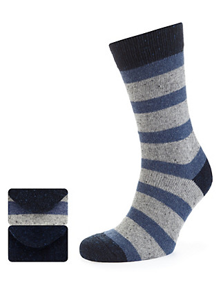 2 Pairs of Marl Block Striped Socks with Wool Clothing