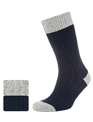 2 Pairs of Thermal Ribbed Socks with Wool Clothing