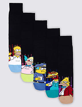 5 Pairs of Cotton Rich The Simpsons Socks