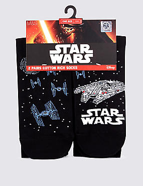 2 Pairs of Cotton Rich Star Wars™ Socks