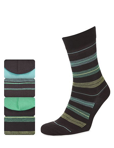 4 Pairs of Cotton Rich Block Striped Socks