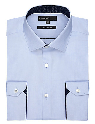 2in Longer Pure Cotton Fine Textured Shirt Clothing