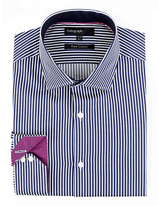 2in Longer Pure Cotton Bengal Striped Shirt Clothing