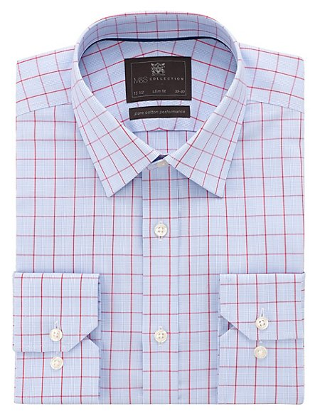 Performance Pure Cotton Slim Fit Non-Iron Prince of Wales Checked Shirt