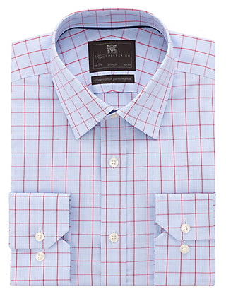 Performance Pure Cotton Slim Fit Non-Iron Prince of Wales Checked Shirt Clothing