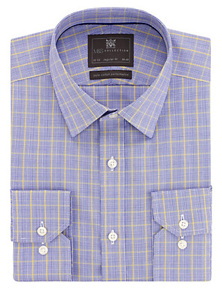 Performance Pure Cotton Non-Iron Prince of Wales Checked Shirt Clothing
