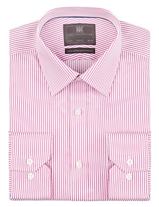 Performance Pure Cotton Slim Fit Non-Iron Bengal Striped Twill Shirt Clothing