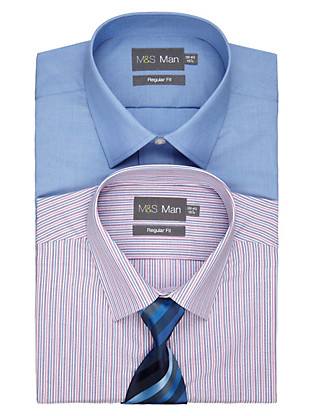 2 Pack 2in Longer Easy Care Assorted Shirts with Tie Clothing