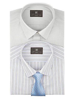 2 Pack Easy Care Long Sleeve Assorted Shirts with Tie Clothing