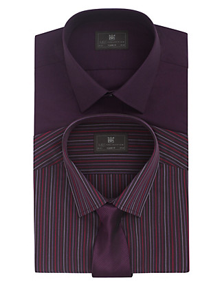 2 Pack Long Sleeve Easy to Iron Plain & Striped Shirts with Tie Clothing