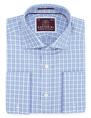 Pure Cotton Prince of Wales Checked Shirt Clothing