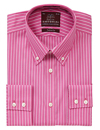 Pure Cotton Fine Striped Shirt Clothing