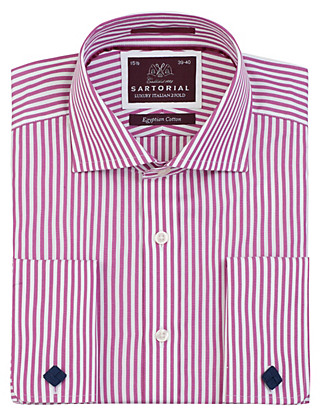 Pure Egyptian Cotton Slim Fit Bengal Striped Shirt Clothing