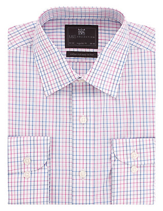 Cotton Rich Easy to Iron Fine Grid Checked Shirt Clothing