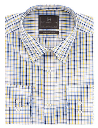 Pure Cotton Easy to Iron 3 Colour Checked Oxford Shirt Clothing