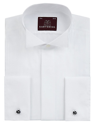 2in Longer Pure Cotton Pleated Dress Shirt Clothing