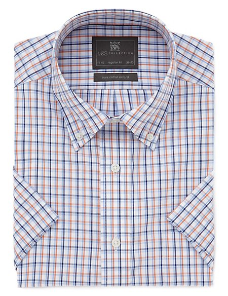 Pure Cotton Easy to Iron Short Sleeve Oxford Checked Shirt