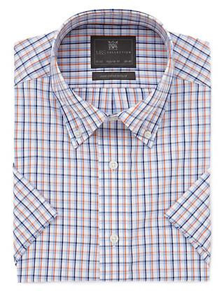 Pure Cotton Easy to Iron Short Sleeve Oxford Checked Shirt Clothing