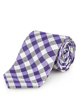Luxury Made in England Pure Silk Gingham Checked Tie Clothing