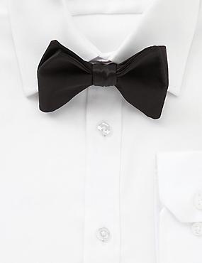 Pure Silk Self-Tie Bow Tie, BLACK, catlanding