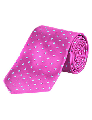 Longer Length Pure Silk Spotted Tie Clothing