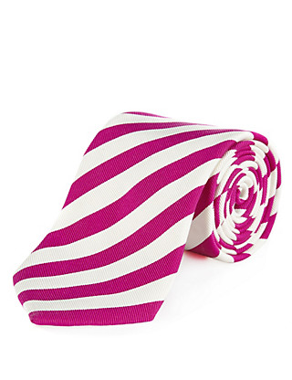Italian Fabric Silk Blend Premium Wide Striped Tie Clothing