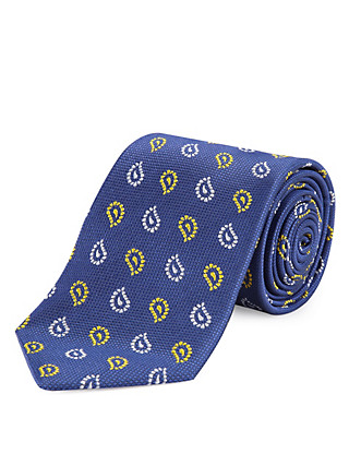 Pure Silk Paisley Print Tie Clothing