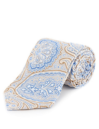 Made in Italy Pure Silk Paisley Print Tie Clothing