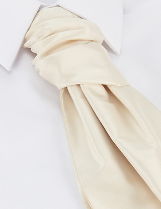 Pure Silk Wedding Cravat with Pocket Square Clothing