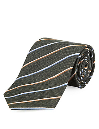 Pure Silk Premium Multi-Coloured Striped Tie Clothing