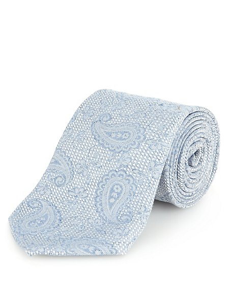 Italian Fabric Paisley Print Tie with Silk