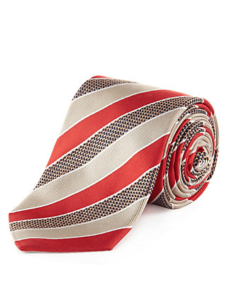 Made in Italy Luxury Pure Silk Striped Tie Clothing