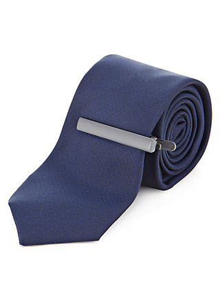 Skinny Tie with Tie Pin Clothing