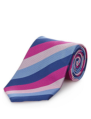 Performance Pure Silk Striped Tie with Stain Resistance™ Clothing