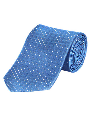 Pure Silk Spotted Textured Tie Clothing