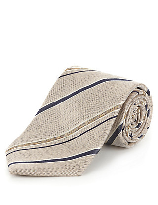Ultimate Pure Silk Striped Tie with Stain Resistance Clothing
